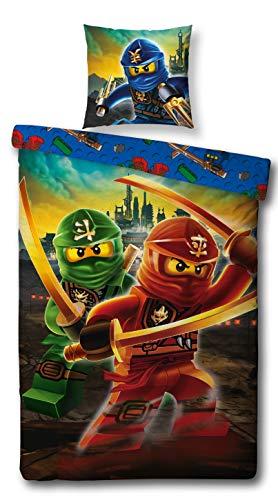 Character World Kinder Bettwäsche Set Lego Ninjago, 135x200cm + 80x80cm, Linon 100% Baumwolle (Ninjago Mountain, 100% Baumwolle Linon)
