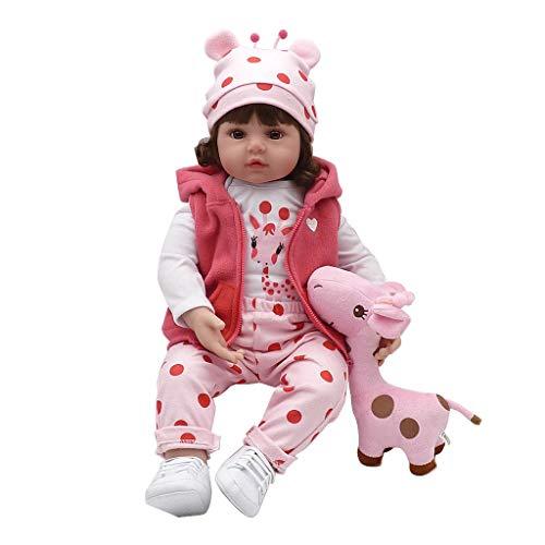 Meiqqm Babypuppe Weichkörper,19 Zoll Silikon Lebensechte Puppe Weiß Cartoon Kleidung Rosa Hosen Mantel Hut Schuhe Deer Frühen Kindheit Kinder Baby Spielzeug
