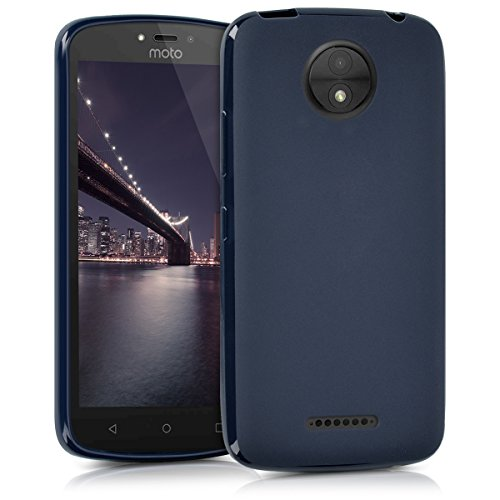 kwmobile Motorola Moto C Plus Cover - Custodia per Motorola Moto C Plus in Silicone TPU - Backcover Protezione Blu Scuro Matt