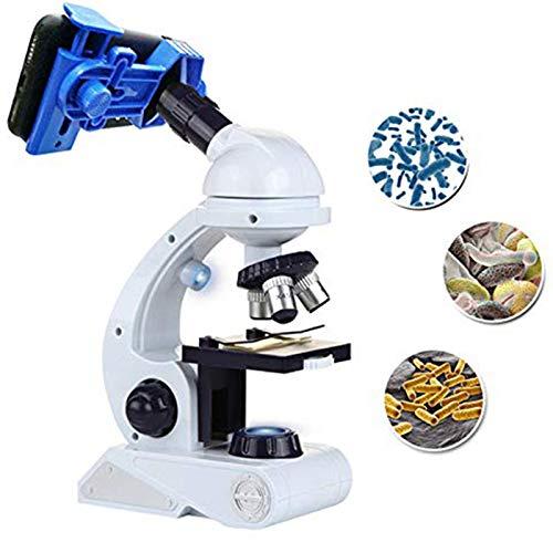 Toogoo kit microscopio per bambini science kit per principianti con microscopio blu/bianco con led 80x 200x e 450x ingranditore giocattolo di scienza