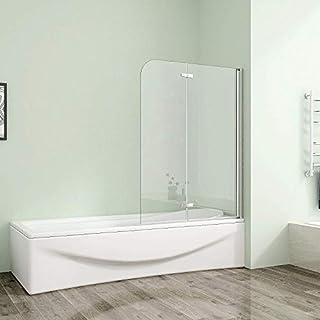 100x140cm Duschabtrennung Badewannenfaltwand 6mm Duschwand Badewannenaufsatz mit Nanobeschichtung AS2E-10H-6