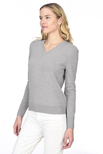 STATE CASHMERE langärmliger Pullover aus 100 % reinem Kaschmir mit V-Ausschnitt für Damen Grau Meliert