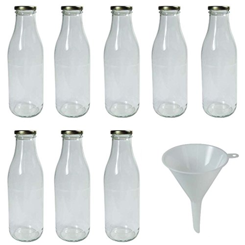 Viva Haushaltswaren #34767# 8 x Weithals-Glasflasche 1000 ml mit goldfarbenem Schraubverschluss, als Milchflasche, Saftflasche & Smoothieflasche verwendbar (inkl. Trichter Ø 9,5 cm) -