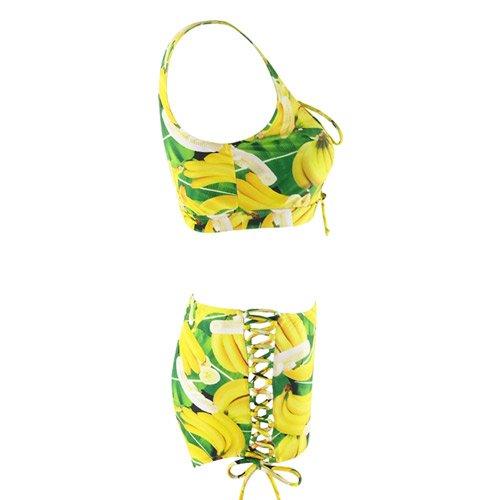 YaoDgFa Sexy Strand Damen Bikini Set Bademode Badeanzüge Bikinis für Frauen Mädchen Bandeau Neckholder Push Up Plus Size große größen Gelb