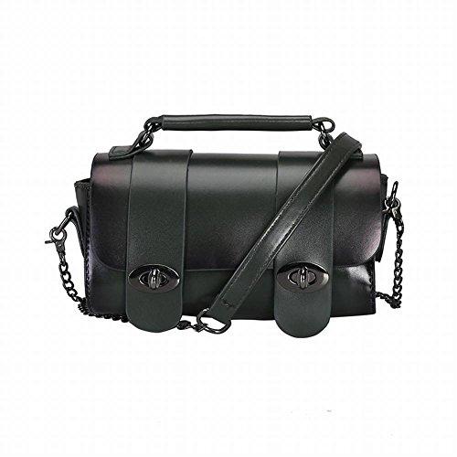 Doppel Schnalle-tasche (Damen Tasche Kette Messenger Bag Doppel Schnalle Schulter Kleine Quadratische Tasche Mode Wilde Handtasche Einfache Tasche , Grün)