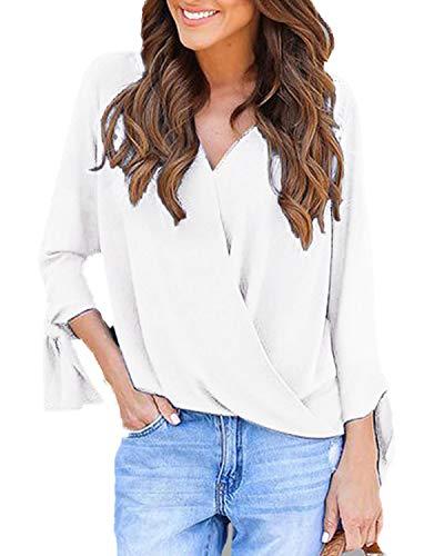 YOINS Damen Bluse Oberteil Elegant Chiffon Langarmshirt Henley Shirt V-Ausschnitt Casual Hemd Lose Asymmetrisch Weiß S/EU36-38