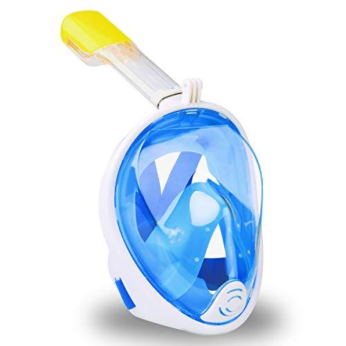 GVOO Tauchmaske, Vollmaske Schnorchelmaske Vollgesichtsmaske mit 180° Sichtfeld, Anti-Beschlag und Anti-Leck,Abnehmbare Halterung,Schwimmmaske für Kinder und Erwachsene