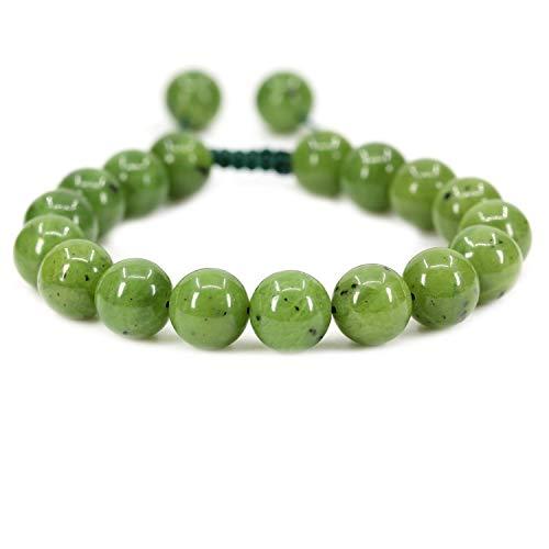 Imagen de pulsera natural de jade nefrita borlas macrame la pulsera ajustable   7.5? longitud de la pulsera chakra reiki con cable de piedras preciosas   trenzada pulsera unisex   8mm granos redondos