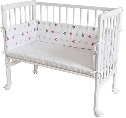 WALDIN Cuna colecho para bebé, cuna para bebé, con protector y colchón, lacado en blanco,color textil blanco/estrellas gris-rosa