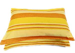 Rangbhar Handloom Pillow Covers with Zip Enclosure, Set of 2 Khadi Cotton Pillow Covers, Striped, 18 x 27 inch, Yellow