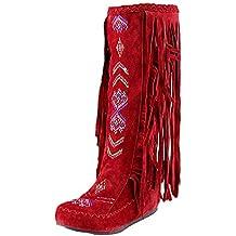 Bottines Indiennes Femme Bottes Western Escarpins Vintage, Shoes Imprimé  Mode Escarpins Ultra Confort Bottes Rouge 8f5ad42ddb88