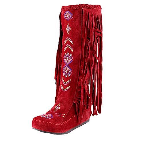 Botas Botines para Mujer,Moda Mujer Casual Nación Estilo Mujer Flecos Tacones Largos Botas De Invierno Rodilla Botas Altas