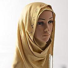 876754800426f WJJ Écharpe à Pointe tressée en Soie Monochrome dorée, Foulard Musulman, ...