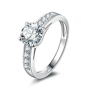 Bishilin Silber 925 Ring Damen 4-Steg-Krappenfassung Rund Brillant Weiß Zirkonia Verlobungsring Silber Hochzeitsring