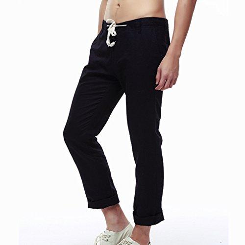 Men's Linen Drawstring Casual Loose Summer Trousers Beach Pants,4 Solid Colors(Asian XS-2XL) (Leinen Drawstring Mens)