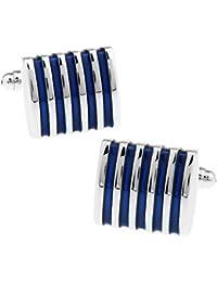 Hosaire Gemelos de rayas de Moda 22X21mm Gemelos Camisa Acero Inoxidable Color Plata Azul
