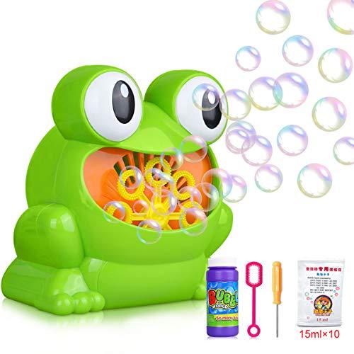 YiRAN Bubble Machine mit 1Flaschen von Flüssigkeit & 10Beutel konzentrierte Lösung, Kinder Seifenblasenmaschine Macher Spielzeug Bubble Maker Spiele für Jungs Mädchen Baby Perfekt für Partys, Hochzeit - 10 Unzen Flüssigkeit