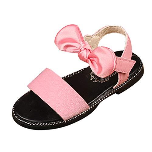 feiXIANG Mädchen Bogen Sandalen Prinzessin Schuhe Leopard Einfarbig Kind Strandschuhe Girls Shoes Sommer (Rosa,32) - Schwarze Schuhe 9t