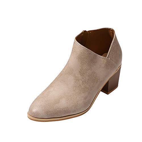 Riou Damen Spitzen Stiefeletten Kurze Ankle Stiefel British Stil Elegant Freizeit Absatz Kurzschaft Stiefel Booties Schuhe …
