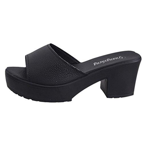FNKDOR Schuhe Kitten-Heel Platform Damen Hausschuhe Peep-Toe (40, Schwarz)
