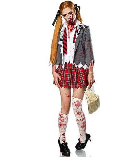 DuuoZy Frauen Horror Zombie Schulmädchen Kostüm Fancy Drees Cosplay Student Uniform , m , (Zombie Kostüm High School Mädchen)
