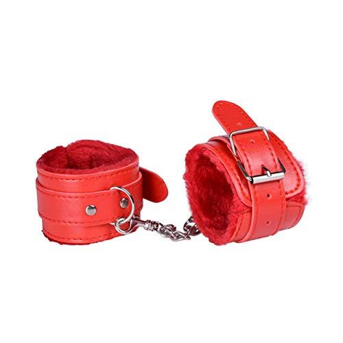 Biyi sexy einstellbare pu Leder plüsch Handschellen knöchelmanschette Bondage Sex Spielzeug fesseln Sex Bondage exotische Dessous zubehör (rot) ()