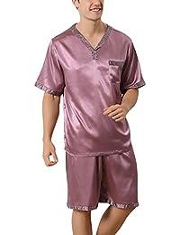 Dolamen Pijamas para Hombre Satén, Hombre Corto Primavera Verano, Hombre camisones Pijamas de parejas