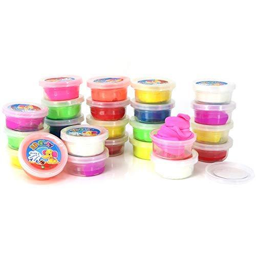 com-four® 24x Hüpfknete in Dose für Kinder und Erwachsene in bunten Farben [Auswahl variiert], Jede Dose 5 x 2,5 cm (24 Stück - V2 klein Mix)
