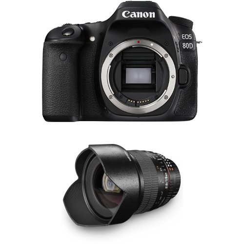 Canon EOS 80D SLR-Digitalkamera (24,2 Megapixel, 7,7 cm (3 Zoll) Display, APS-C CMOS Sensor, DIGIC 6 Bildprozessor) nur Gehäuse schwarz + Walimex Pro 10mm 1:2,8 DSLR-Weitwinkelobjektiv schwarz