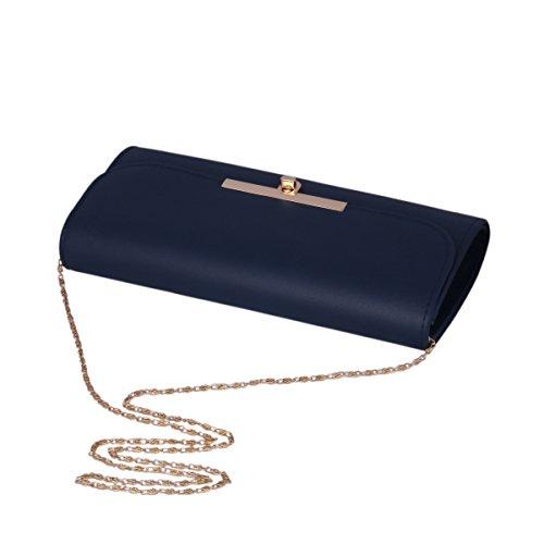 Damara® Elegante Damen Clutch Große Abendtaschen Mit Kette Schwarz