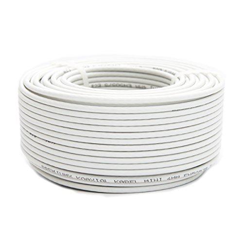 25m PremiumX Mini Koaxial Sat Kabel 4mm extra dünn Weiß Koax Antennenkabel 2-Fach geschirmt für Sat | Kabel | DVB-T - Ultra HD 4K 3D