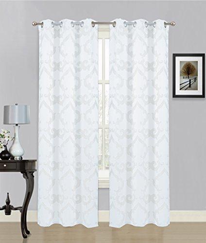 Dainty Home Luxemburg Tülle Fenster Panel Paar mit Rayon, 193x 213,4cm weiß -