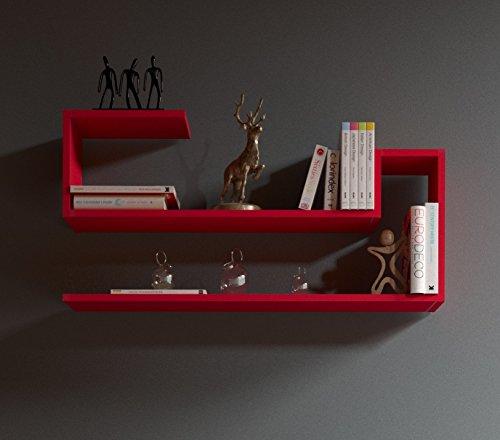 Airy mensola da muro - rosso - mensola parete - mensola libreria - scaffale pensile per studio / soggiorno in design moderno