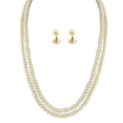 My Dt Lifestyle Double Line White Pearl Necklace For Women(Prl2)