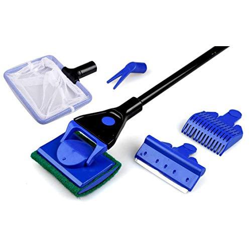 Aquarium Cleaner 5 In 1 Clean Set Fish Rake Scraper Grass Fork Sponge Brush