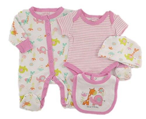 4bceaf09f778 Rock a bye baby-Ensemble 5 pièces de naissance rose et blanc, pyjama,