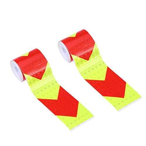 LIOOBO 2 STÜCK Warnstreifen Gitter Reflektierende Folie Körper Aufkleber Warnband Fluoreszierende Sicherheit Nacht Erkennbarkeit Pfeil Aufkleber (Fluoreszierende Gelb Roter Pfeil)