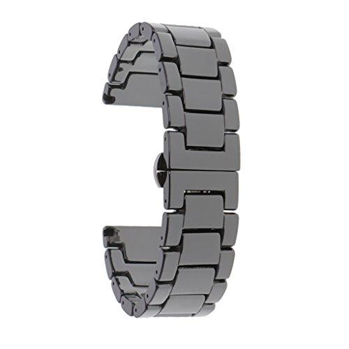 MagiDeal Bracelet de Montre en Céramique Remplacement pour Chaîne Montre Universel - Noir, 20mm