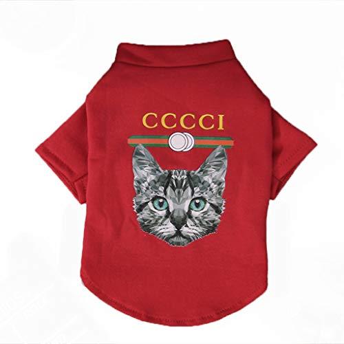 QLMS Teddy Kleidung Winterkleidung dünne Hund Weste als Bär Welpen Kleiner Hund Frühling und Herbst Flut Karte Katze Kleidung (Farbe : Rot, größe : M)