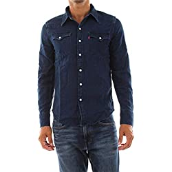 Levi's Barstow Western Camisa Vaquera, Azul (Indigo Flannel Mid T2 H2 19 0322), Large para Hombre