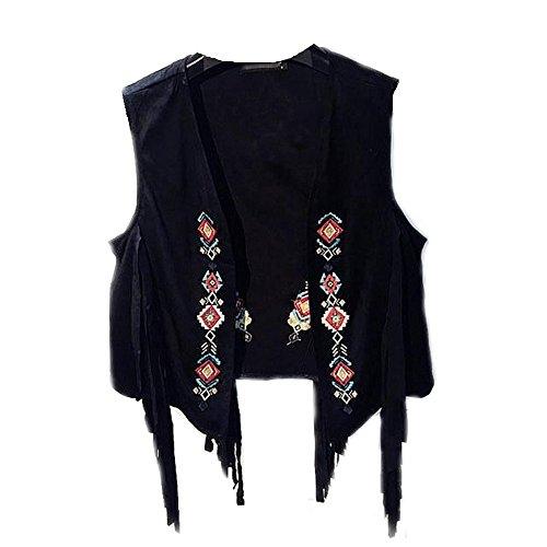 Ouneed® Suede Bolero Frange Femme Noir