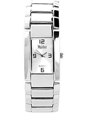 Mador - CB1872SD - Armbanduhr für Damen - Analog Quartz - Metallarmband Silber - Zifferblatt Schwarz