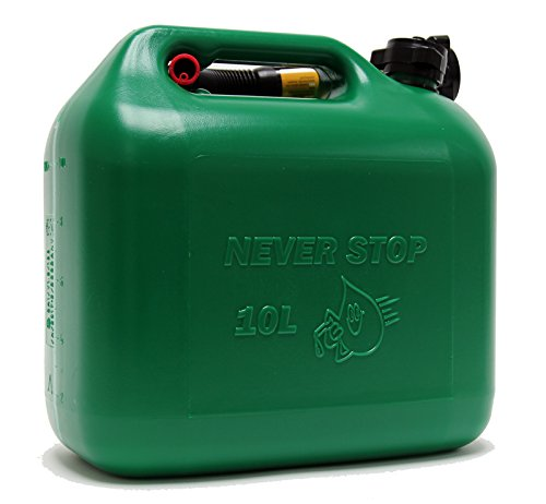 Preisvergleich Produktbild Never Stop Kraftstoffkanister Benzinkanister Reservekanister Kunststoff grün 10 Liter UN Zulassung