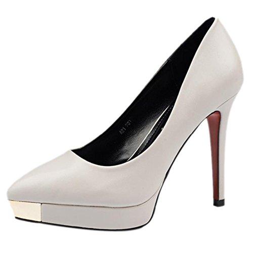 QIYUN.Z Les Femmes Ol Ville Haut Talon Stiletto Continental Bout Pointu Chaussures De Pompe De Plate-Forme Gris
