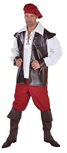 M212225-S-A braun-rot-weiß Herren Landsknecht Knecht Kostüm - Land Bauer Kostüm