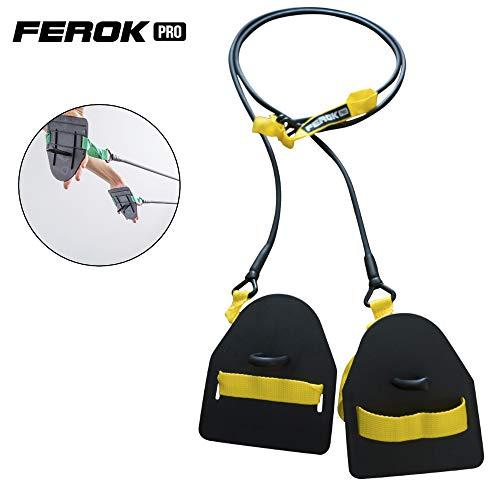 Ferok - Trockentraining Zugseile mit Handpaddles - Fitness Widerstandsband mit Seilen und Paddles - Ideal für das Heimkörpertraining - Version Light