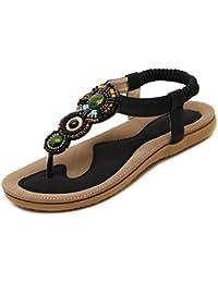 Zonlin Damen Bohemian Flachen Sandalen Sommer Flip-Flops Schuhe 3XYrU