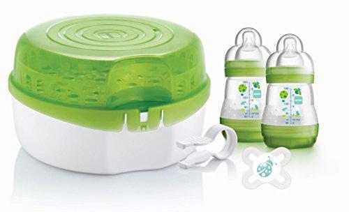 Preisvergleich Produktbild MAM - Mikrowellen-Dampfsterilisator inklusive 2 Flaschen, 1 Schnuller/Sauegr und Clip
