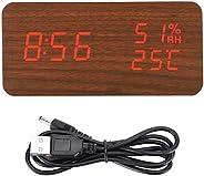 Wood Digital Alarm, Digital Desk Clock Wooden Wood Clock, Digital LED Alarm Clock Brown for Bedroom Office