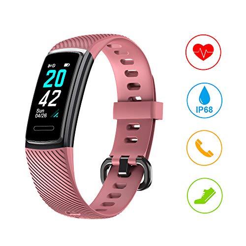 Huyeta Fitness Armband mit Pulsmesser Smartwatch IP68 Wasserdicht Fitness Uhr Fitness Tracker mit Schlafmonitor Schrittzähler Pulsuhren Aktivitätstracker Sportuhr für Damen Herren Anruf SMS